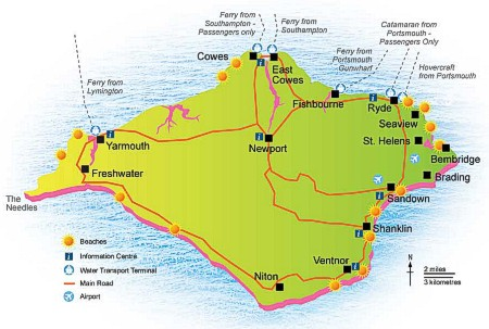 Isle of Wight Ferry Route Map