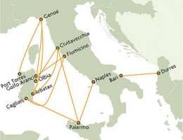 Tirrenia Route Map